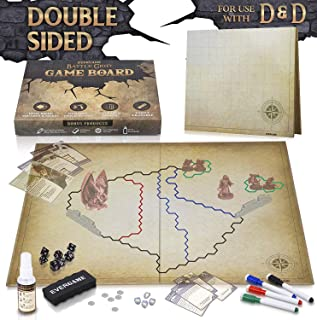 EVERGAME Reusable DND Mat for Usage with Dungeons and Dragons Board Game, DND Miniatures, d&d Starter Kits, dm Screen, Gaming mats, Battle mat - Markers, Eraser, & Dice Set Included