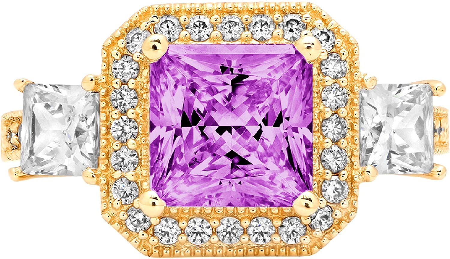 2.98 Cushion Princess Cut Halo Solitaire 3 stone Accent Stunning Genuine Flawless Simulated Purple Alexandrite Modern Promise Statement Designer Ring 14k Yellow Gold