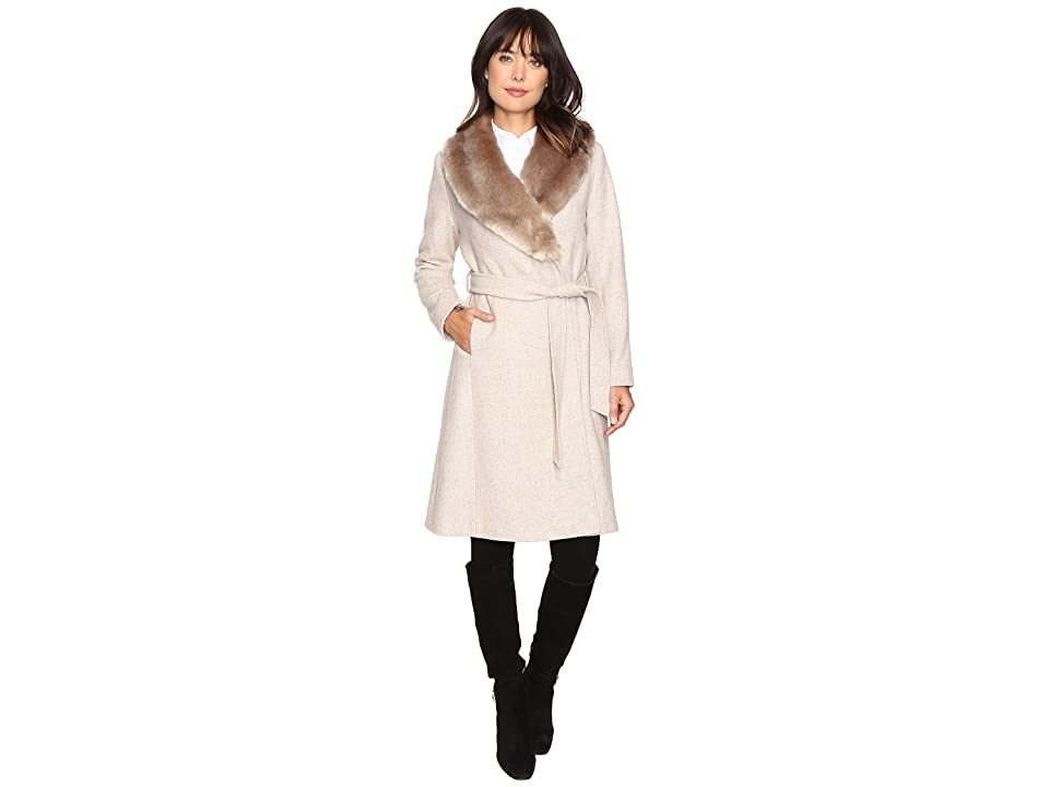 LAUREN Ralph Lauren Faux Fur Collar Wrap (Platinum Heather) Women