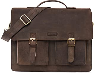 LEABAGS Miami Leder-Umhängetasche I Laptoptasche bis 15 Zoll I Messenger Bag aus echtem Büffel-Leder I Aktentasche I Vintage Ledertasche I Bürotasche I Arbeitstasche I 40x31x12cm