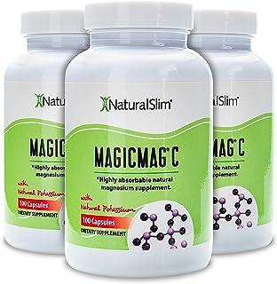 NaturalSlim Anti Stress Magnesium Capsules - Pure Magnesium Citrate Plus Potassium - Natural Aid to a Slow Metabolism, Mus...