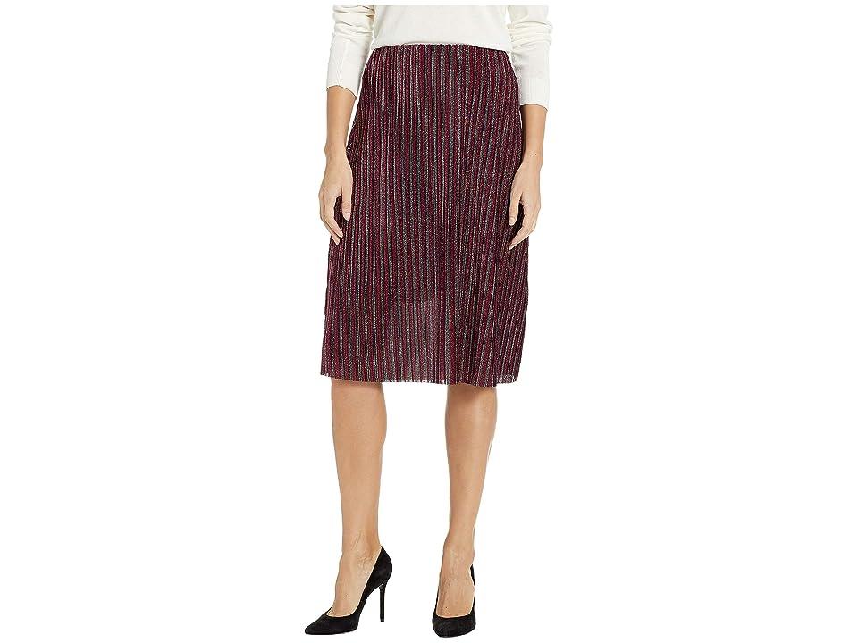 eci Pleated Glitter Knit Skirt (Fuchsia) Women