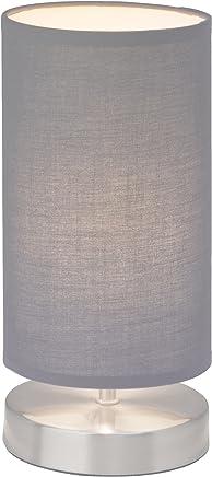 Brilliant Clarie - Lampada da Tavolo con Paralume in Tessuto, 1x E14, Max 40 W, in Ferro e Tessuto Moderno Grigio
