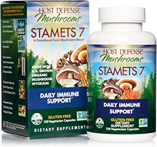 Host Defense, Stamets 7 Capsules, Daily Immune Support, Mushroom Supplement with Lion's Mane, Reishi, Vegan, Organic, 120 ...