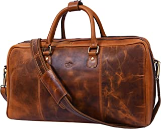 A ADDEY SUPPLY COMPANY PURO LUSSO Leather Travel Duffle Bag | Gym Sports Bag Airplane Luggage Carry-On Bag Caramel