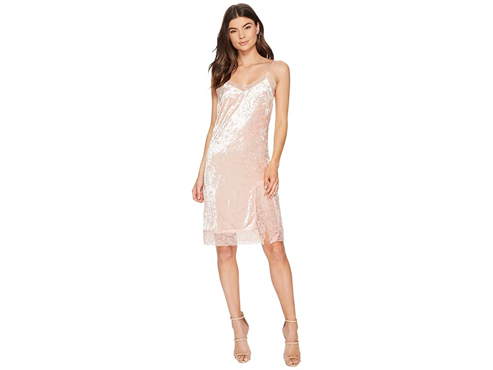 J.O.A. Lace Trim Velvet Slip Dress (Dusty Pink) Women