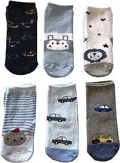 6 Pares de Calcetines de bebé para bebé o niño, Antideslizantes, de algodón de Colores, Suaves y cálidos