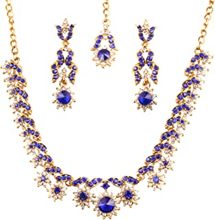 Touchstone Hollywood Glamour white/blue crystals light jewelry necklace set in antique gold tone for women