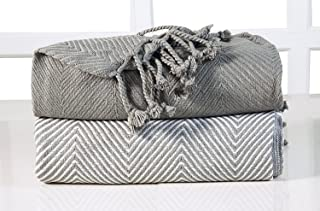 EHC Chevron algodón Single Manta de sofá, Gris, 125x