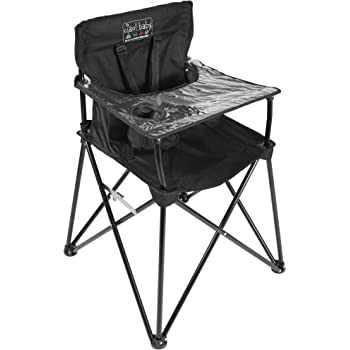 ciao! baby Portable High Chair for Babies and Toddlers, Fold Up Outdoor Travel Seat with Tray and Carry Bag for Camping, Picnics, Beach Days, Sporting Events, and More (Black)