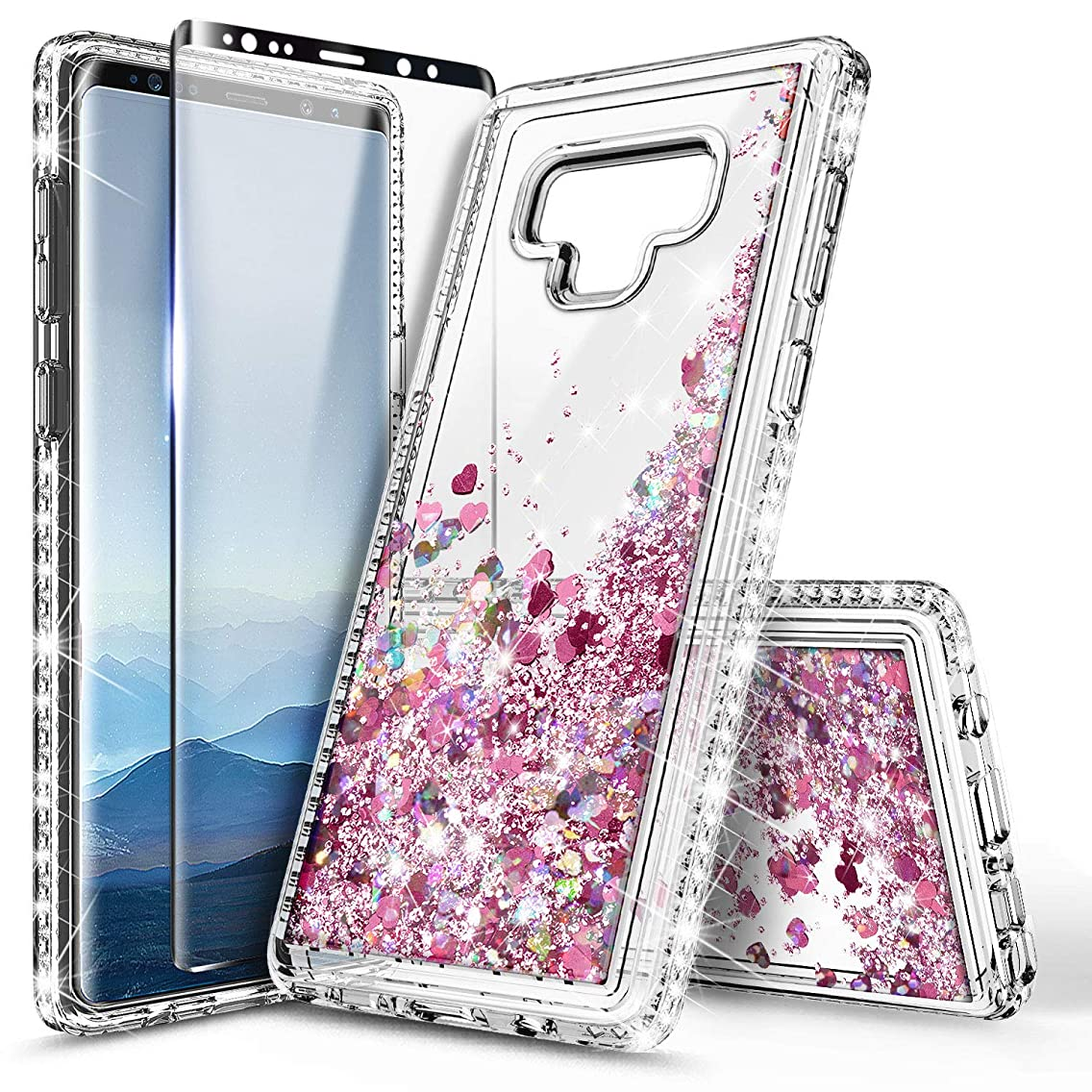 Galaxy Note 9 Case with Screen Protector (3D Pet Full Coverage) for Girls Women, NageBee Glitter Liquid Bling Floating Quicksand Waterfall Shockproof Cute Case for Samsung Galaxy Note 9 -Rose Gold