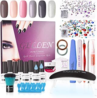 Gellen Gel Nail Polish Starter Kit - with 6W Nail Lamp Base Top Coat, 6 Colors Nail Art Tools Decoration, Portable Home Gel Manicure