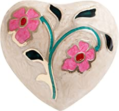 Ansons Urns White Flower Funeral Heart Keepsake Urn - Mini Cremation Urn Hand Made in Brass - Fits a Small Amount of Cremated Remains and Ashes - 3 inches Tall Burial Urn - Enameled Rose