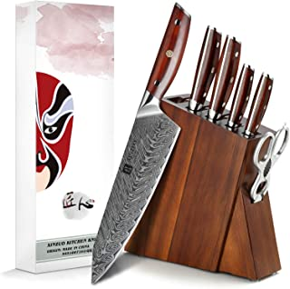XINZUO 7 Pièces Ensemble de Couteaux de Cuisine avec Bloc en Bois,Acier Damas Couteau de Chef Santoku Pain Universel Parin...