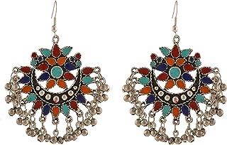 Crunchy Fashion Stylish Bollywood Indian Jewelry Oxidised Silver Afghani Tribal Fancy Party Wear Earrings for Women for Gi...