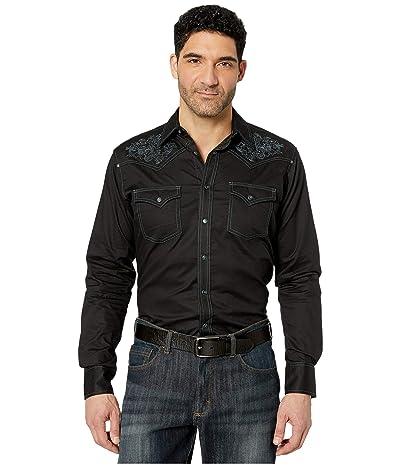 Wrangler Rock 47 Long Sleeve Snap Solid Shirt (Black) Men