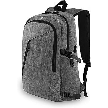 Redlemon Mochila para Laptop Antirrobo Ejecutiva con Candado Integrado y Puerto USB para Power Bank (no incluido), Múltiples Compartimentos, Correas Ajustables, Cómoda, Ideal para Viajes