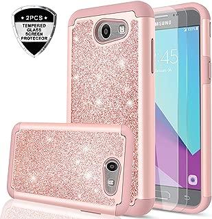 LeYi PC Silicone Glitter Case with Tempered Glass Screen Protector for Samsung J3 Prime/ J3 Emerge/ Express Prime 2/ Amp Prime 2/ J3 Mission/ J3 Eclipse/ J3 Luna Pro/ Sol 2/ J3 2017 TP Rose Gold