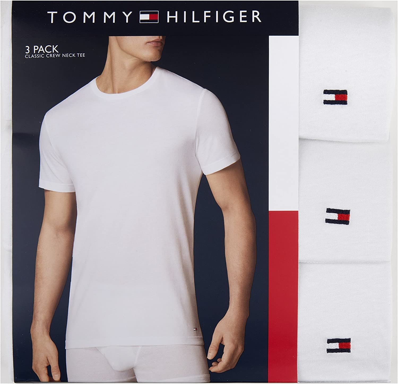 Tommy Hilfiger Men's Undershirts Multipack Cotton Classics Crew Neck T-Shirt at  Men's Clothing store