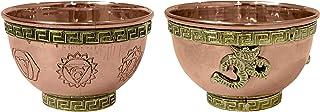 diollo Om and Seven Chakras Copper Offering Bowl Rituals Smudge Incense Decoration