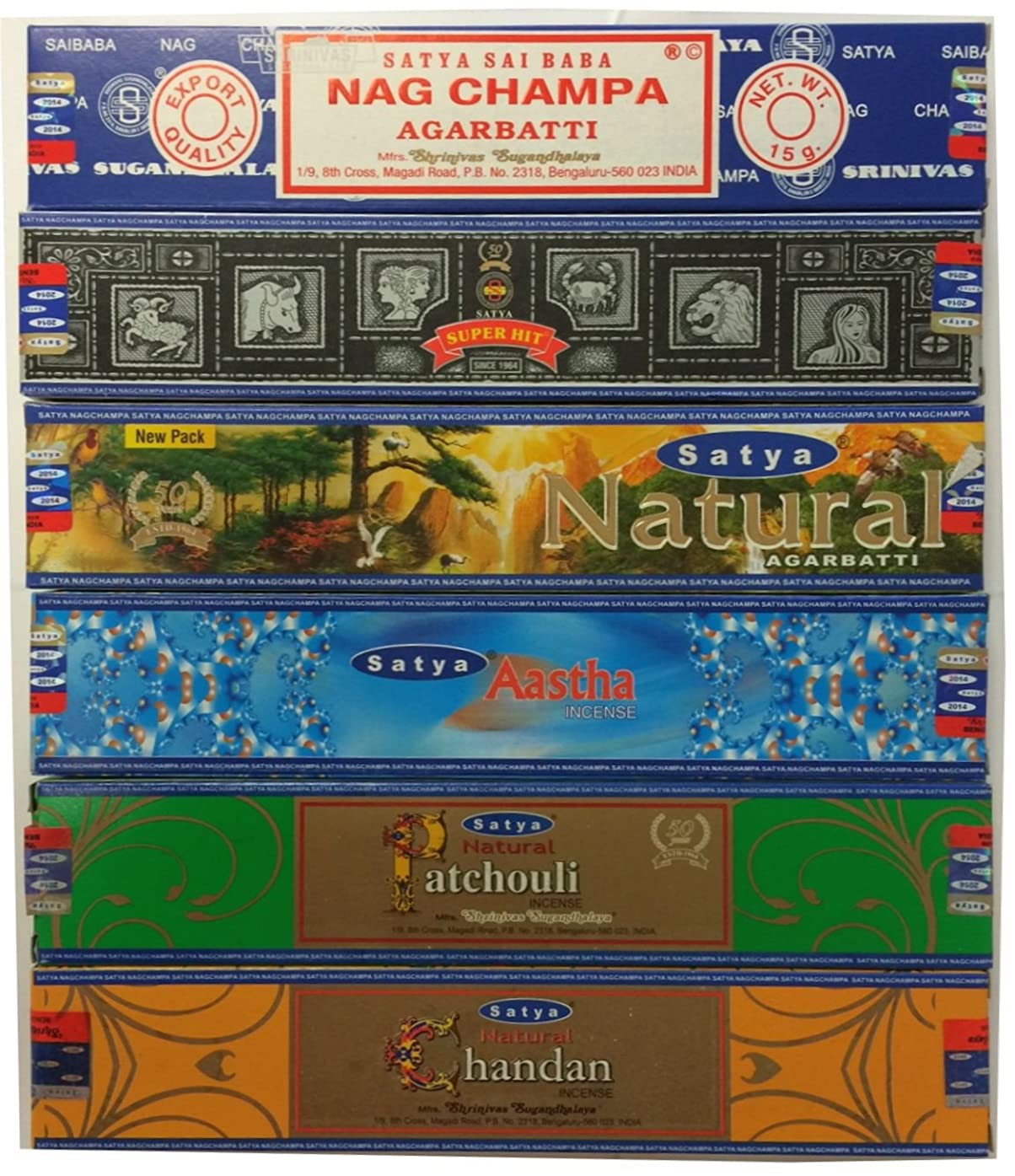社会学乗って航空便Set of 6?Nag Champa SuperHit自然Aastha Chandan Patchouli By Satya