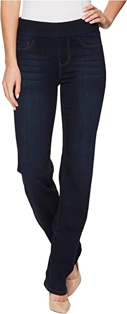 Jillian Pull-On Straight Leggings Silky Soft Denim in Dynasty Dark