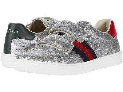 Gucci Kids New Ace V.L. Sneakers (Little Kid) (Argen/Marrone) Girl