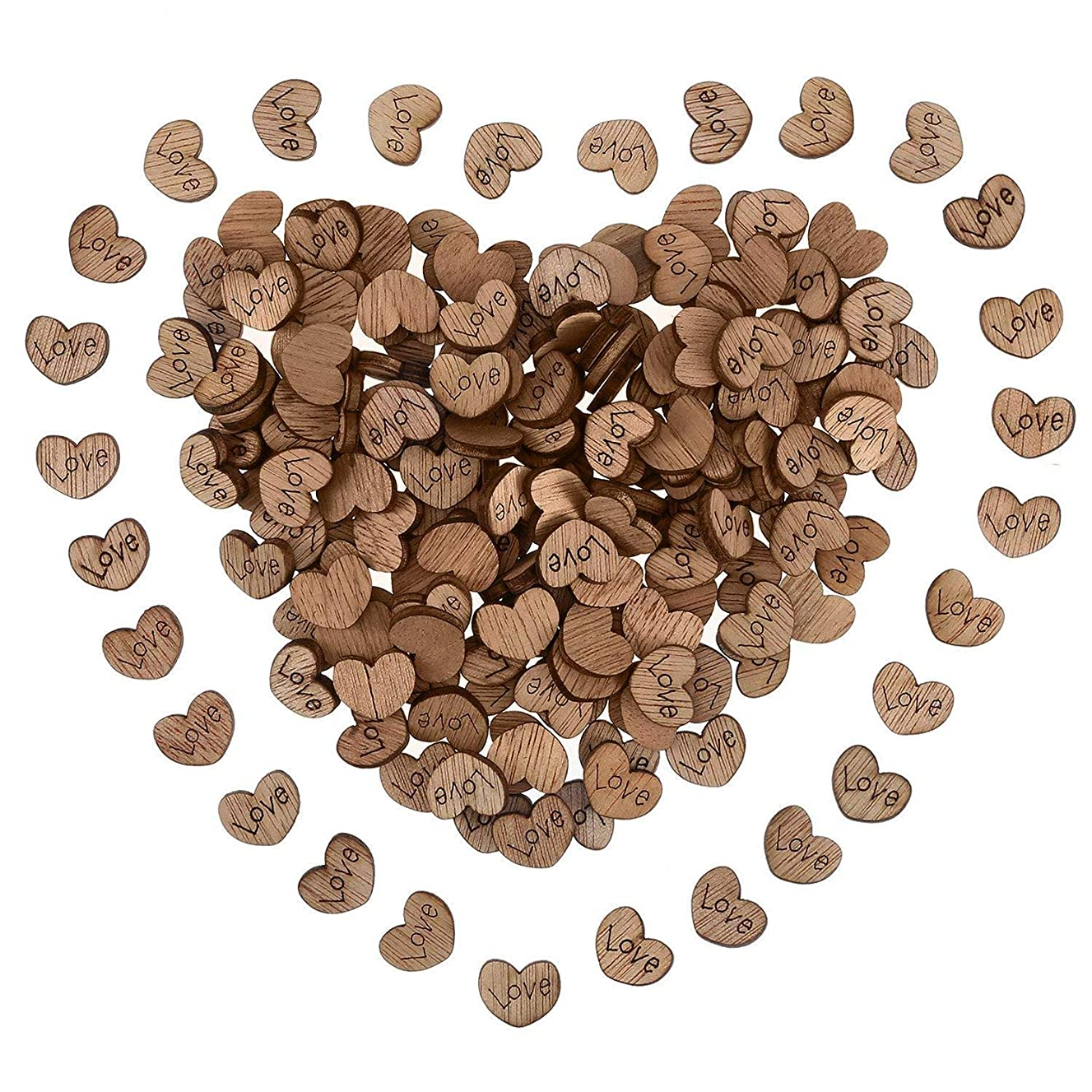 Benvo 300 Rustic Hearts Wooden Love Hearts Slices for Wood Table Confetti, Wedding Table Scatters, Embellishments, Invitations, Rustic Weddings and Events, Crafts Decoration, DIY Projects and More