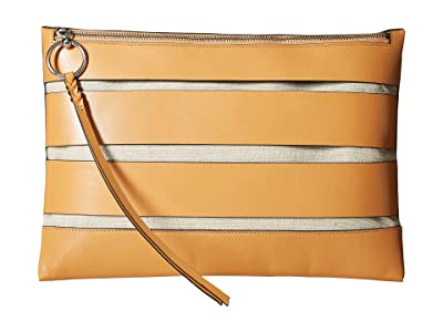 Rebecca Minkoff Cage Large Zip Clutch (Honey) Clutch Handbags