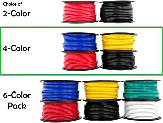 12 Gauge Copper Clad Aluminum Low Voltage Primary Wire 4 Color Combo 100 ft per Roll (400 feet Total) for 12V Automotive Trailer Light Car Audio Stereo Harness Wiring (Also in 2 or 6 Color Combo)