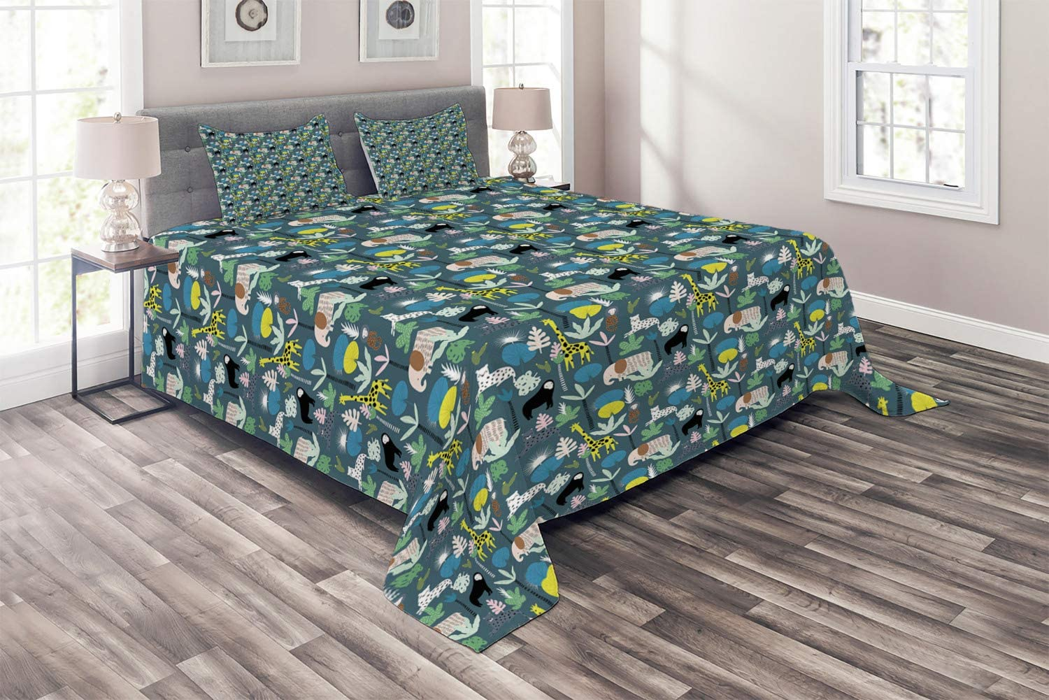 Ambesonne Jungle Rapid rise Coverlet Pattern with Giraffe Toucan Some reservation E Leopard