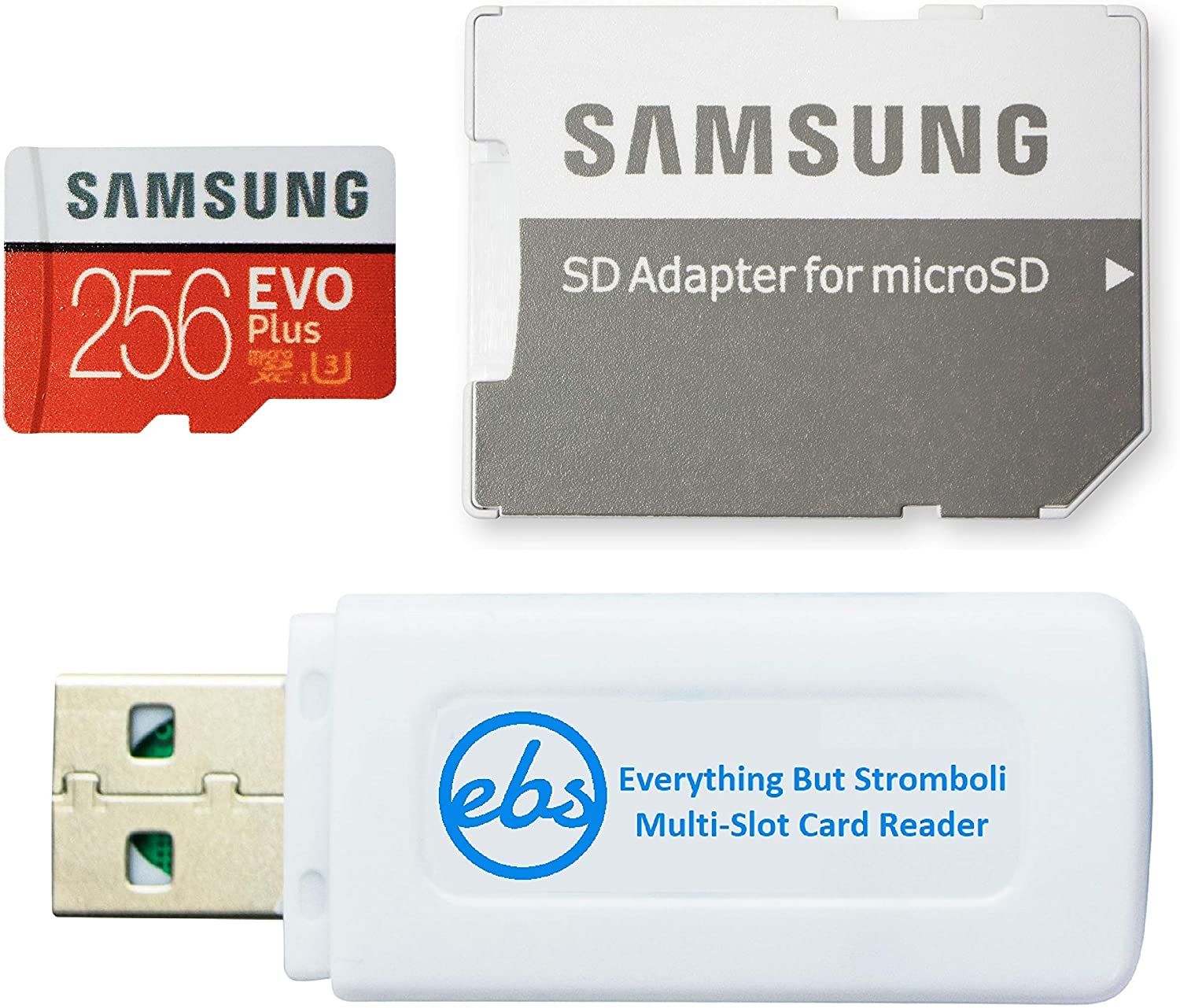 Samsung Evo Plus 256GB Micro SDXC Memory Card Class 10 Works with Android Phones - Galaxy A51, A50, A40, A30 (MB-MC256G) Bundle with (1) Everything But Stromboli MicroSD & SD Card Reader