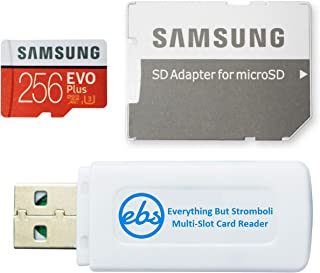 Samsung Evo Plus 256GB Micro SDXC Memory Card Class 10 (MB-MC256G) Works with Android Galaxy Cell Phones A10e, A10s, A30s, A50s, A90 5G with (1) Everything But Stromboli (TM) MicroSD & SD Card Reader