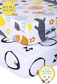 Pickle & Pumpkin Mini Crib Sheet Set | 2 Pack Pack N Play Sheets in 100% Organic Jersey Cotton | Girls & Boys | Ideal as Pack and Play Mattress, Playpen, Playard Sheets | Penguin & Woodland