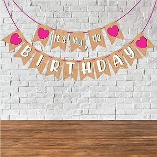 "Wobbox Birthday Bunting Banner ""Its My Half Birthday"" Jute Style Pink Heart, Birthday Decoration Item"