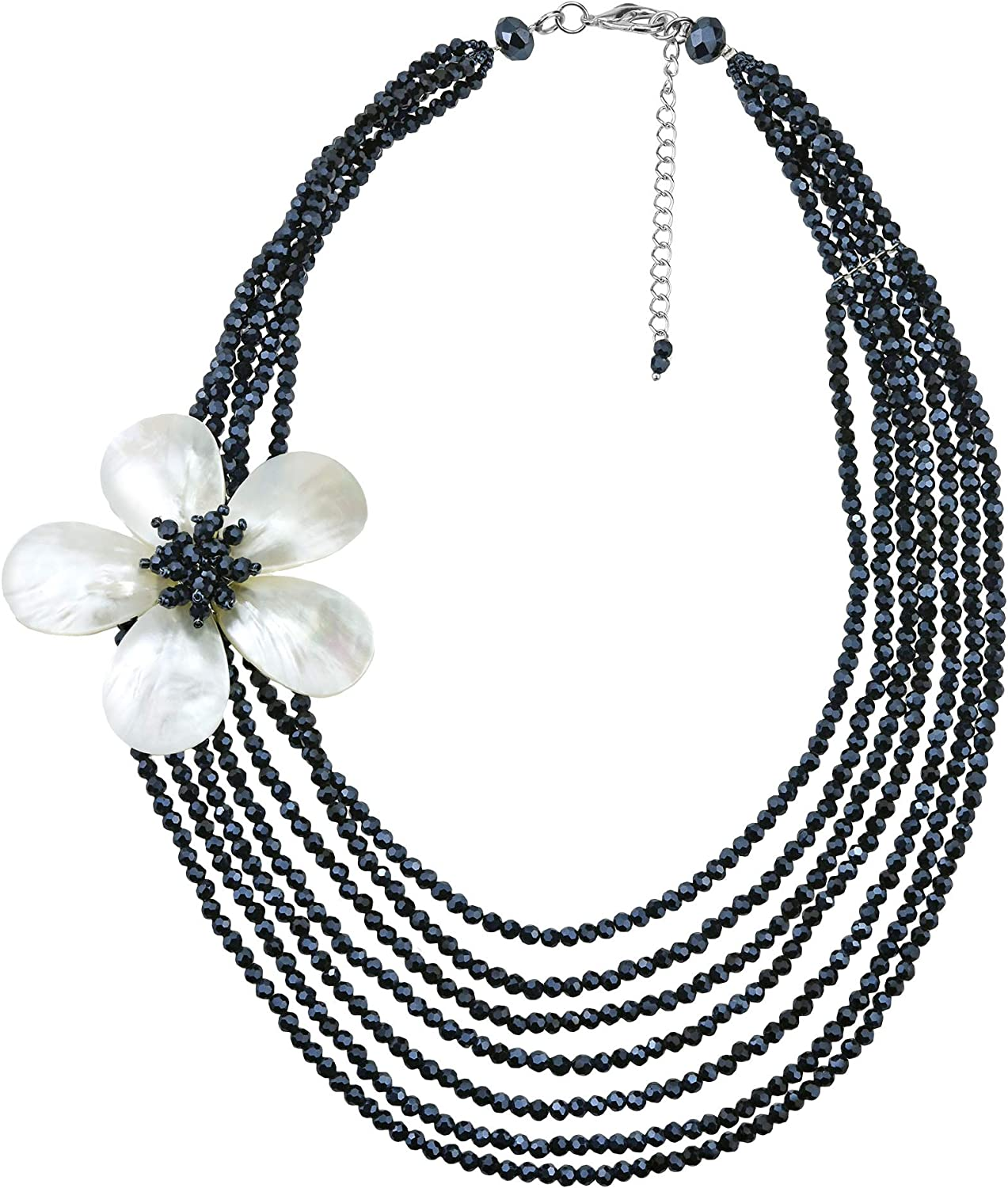 AeraVida Black and White Multi-Strand Crystal and White Mother of Pearl Floral Necklace