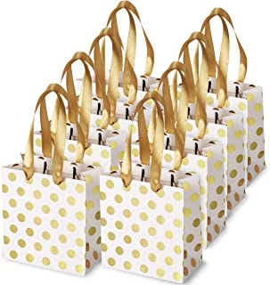Small Gift Bags with Ribbon Handles: Gold Mini Gift Bag, for Birthday Weddings Christmas Holidays Graduation Baby Showers (Metallic Dots 8 Pack Bulk)