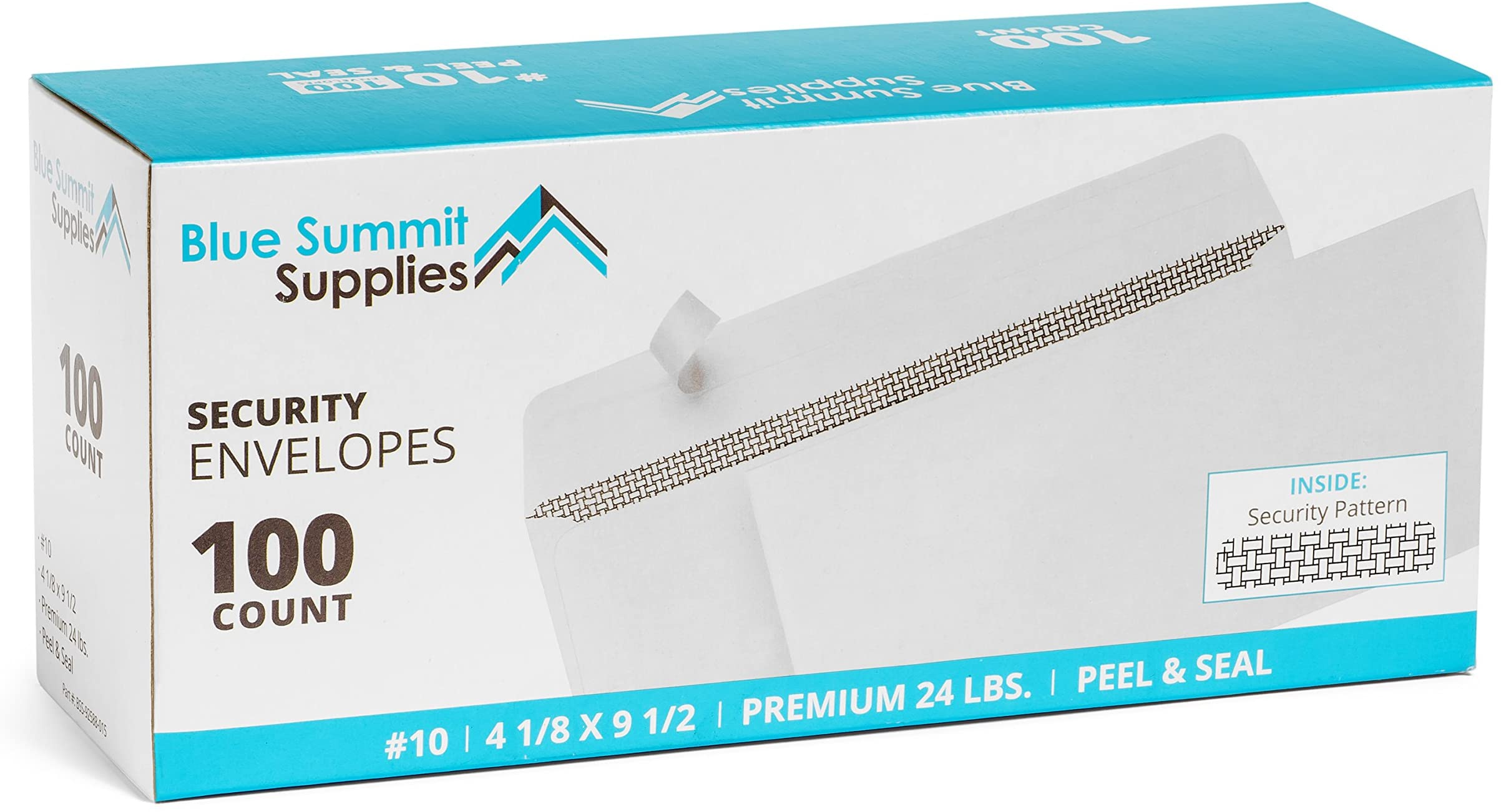 100 No. 10 Self Seal Security Envelopes - Designed for Secure Mailing - Security Tinted with Printer Friendly Design - Number 10 Size 4 1/8 x 9 ½ Inch (100 Pack)