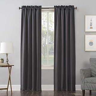 "Sun Zero Easton Blackout Rod Pocket Curtain Panel, 40"" x 95"", Charcoal Gray"
