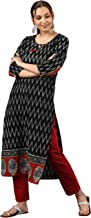 Janasya Women's Black Pure Cotton Kurta