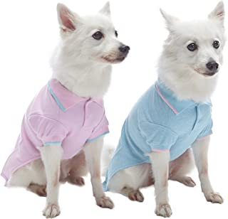 Blueberry Pet 7 Designs Back to Basic Cotton Blend Dog Polo Shirts with Personalized Option