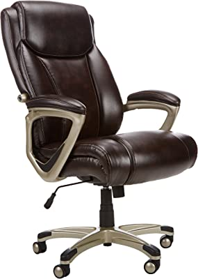 AmazonBasics Big & Tall Executive Chair - Adjustable with Armrest, 350-Pound Capacity - Brown with Pewter Finish