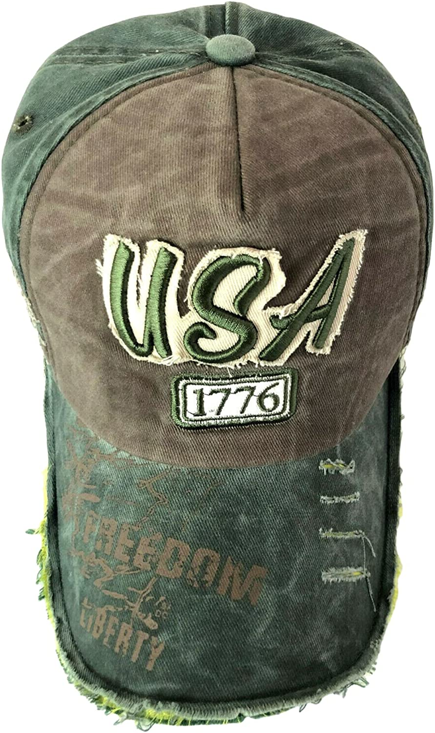 Women Men Vintage Ripped Washed Distressed Embroidered USA Baseball Cap Dad Hat Adjustable