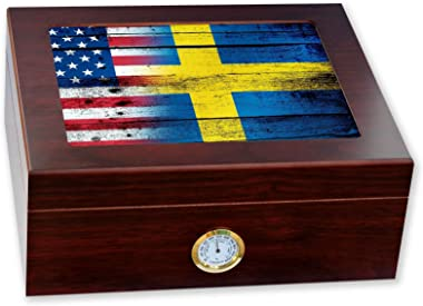 ExpressItBest Premium Desktop Humidor - Glass Top - Flag of Sweden (Swede) - Wood with USA Flag - Cedar Lined with humidifier & Front Mounted Hygrometer.