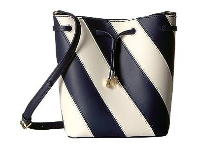 LAUREN Ralph Lauren Diagonal Stripe Debby II Drawstring Small (Navy/Vanilla) Handbags