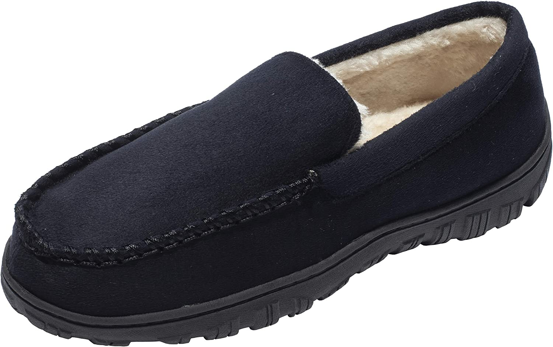 bilebey herrar Winter Comfortable Warm Mocasins Slippers with Anti Slip Rubber Sole Loafers skor