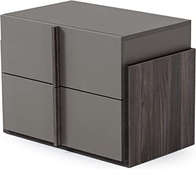 Limari Home Alba Collection Modern Style Italian Elm Matte Nightstand with Self Closing, Ball Bearing Drawer Glides, Gray