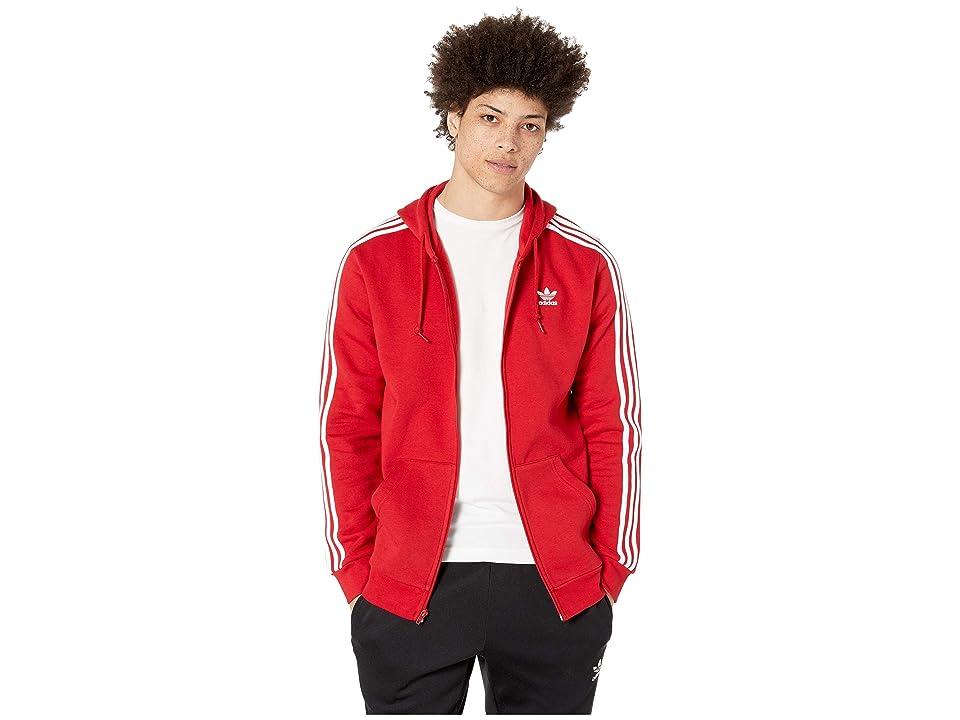 Image of adidas Originals 3-Stripes Full Zip Hoodie (Power Red) Men's Sweatshirt