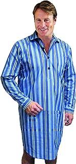 Mens Yarndye Sleepwear Lounge Wear Poly Cotton Rich Nightshirt Boys Casual Sleep Wear Fancy Long Sleeved Front Button Pale...