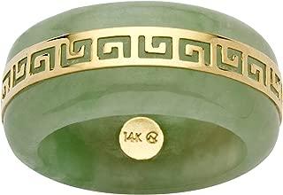 14K Yellow Gold Round Genuine Green Jade Greek Key Ring